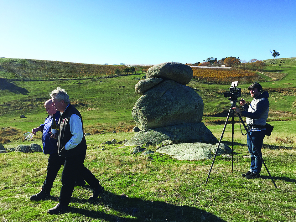 Host Frank Moylan and winemaker Llew Knight on location at Granite Hills.